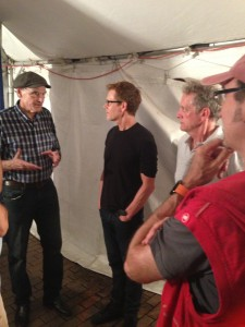 JT, Kevin, Michael and me. Clearly, I am in deep thought wondering what I can say to James that will not make me sound like an idiot fan boy.