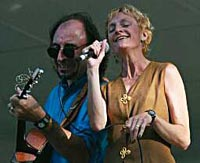 Paul and Mary Ellen Bernard onstage in Trumbull, CT. Photo by Jeff Wignall